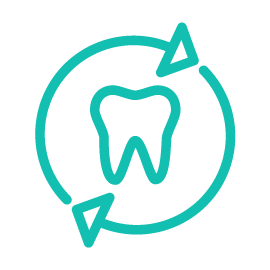 Teal icon conveying comprehensive dental