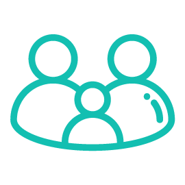 Teal icon conveying family focused concept